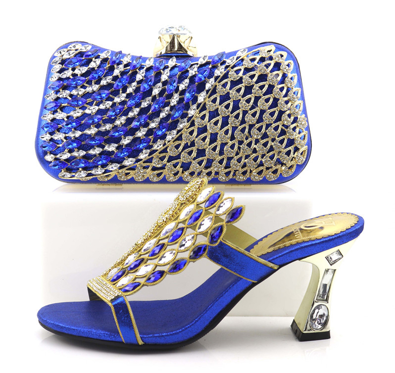 Italian shoes and bag matching set in royal blue with free shipping rhinestones slippers shoes and clutches bag set SB8250-4 cd158 1 free shipping hot sale fashion design shoes and matching bag with glitter item in black