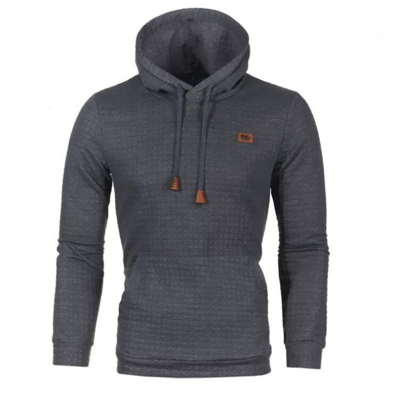 Autumn Men Hoodie Casual Pullover Solid Blue Gray Black