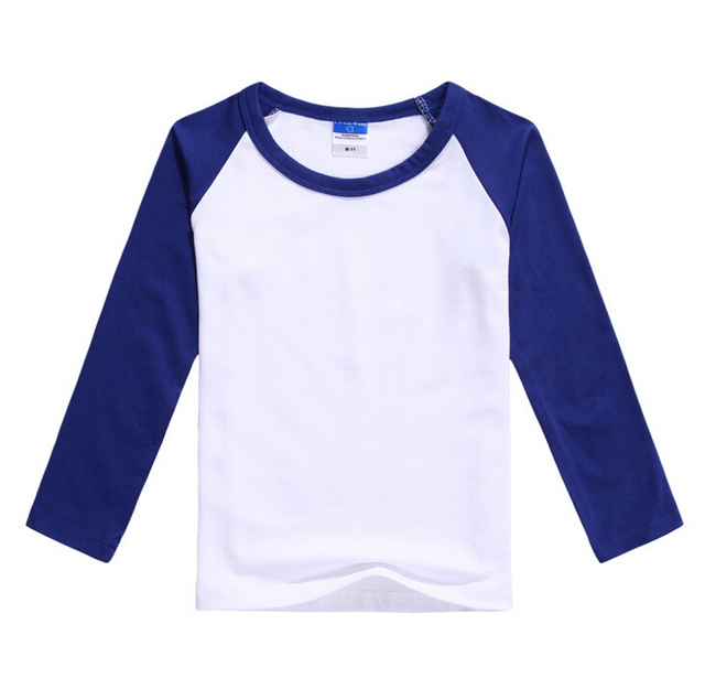 0fb4e9faabcc Plain Boys Girls Casual Blank T Shirt Kids Blue White Long Sleeve Unisex  Cotton Basic Undershirt Kids Clothes 2-10T KT-1538