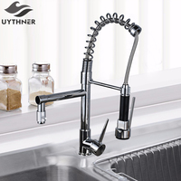 Modern Solid Brass Chrome Polish Spring Kitchen Faucet Mixer Tap Faucet Single Handle Hole