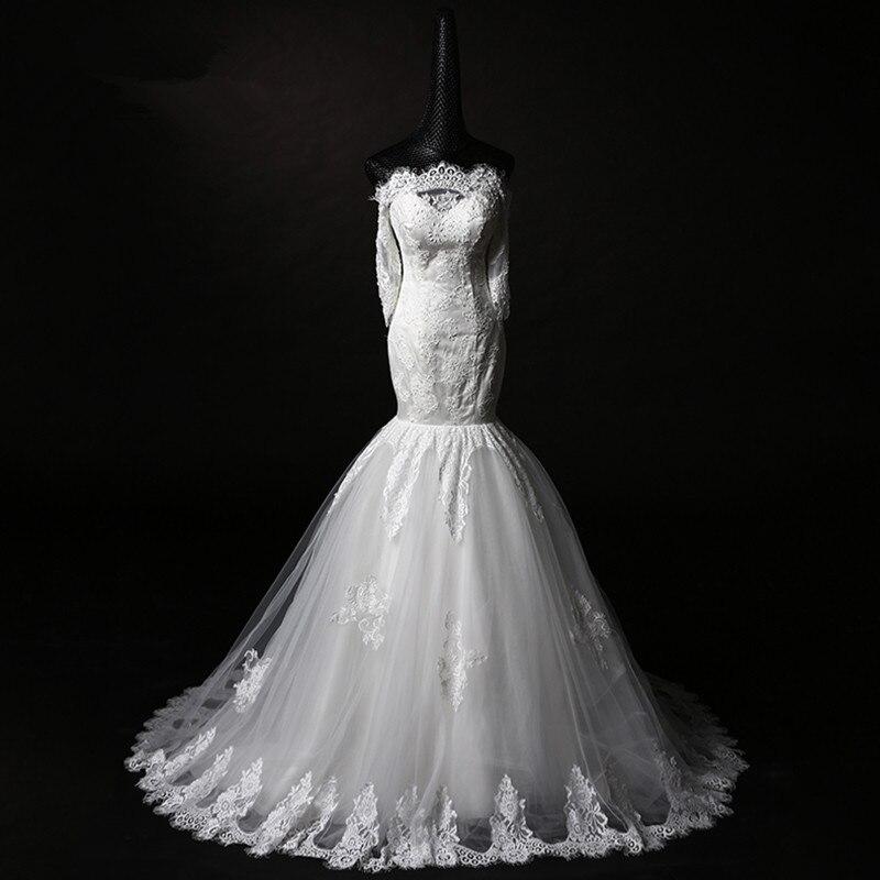 real photos appliques boat neck New long kurtis lace evening bridal gown bride vestido de noiva 2018