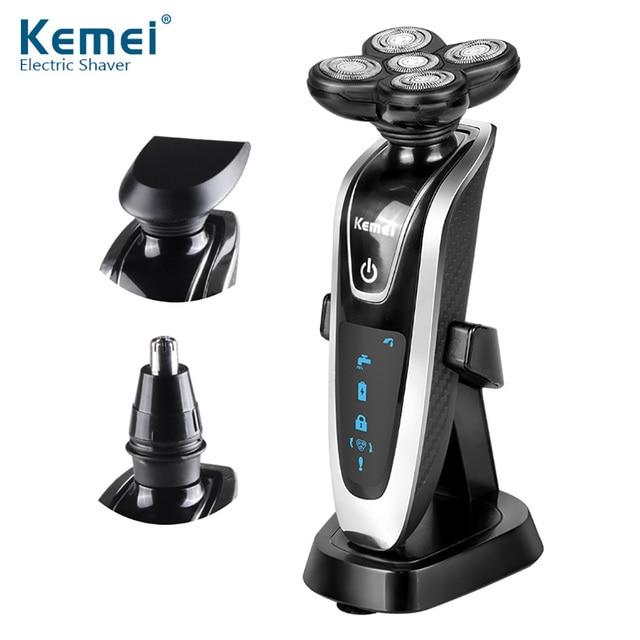 Kemei KM-5886 3 в 1 моющиеся Перезаряжаемые электробритвы 5 электробритвы Глава Электробритвы 5D для мужчин уход за лицом
