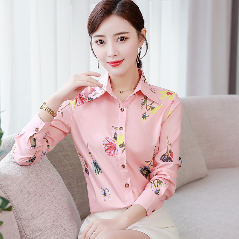 Korean Fashion Cotton Women Blouses Floral Turn-down Collar Pink Women Shirts Plus Size XXXL/5XL White Womens Tops And Blouses