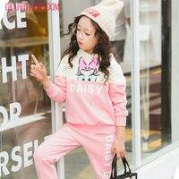2 Pcs Girls Sweatshirt Hoodies Pants Spring And Autumn Big Girl Casual Clothes Sets Children Boutique