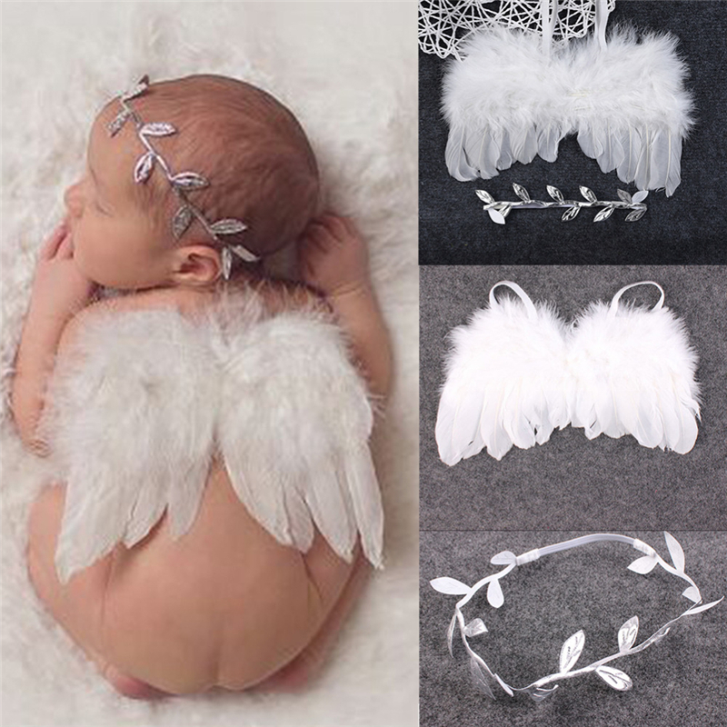 Newborn Baby Photography Props Accessories White Angel Feather Wings Leaves Flowers Headband Baby Photo Props Fotografia Girls baby girl flower angel feather wings hair headband photo shoot kawaii hair accessories for newborns head band photography props