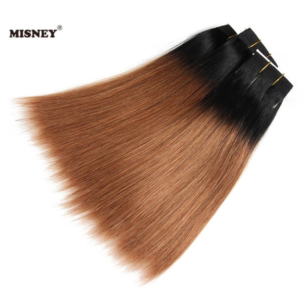Brazilian Yaky Hair Yaki Straight Hair Extension Ombre Two Tone 1B/30 Black Brown 3 Bundle 100% Human Hair Weave Bundles 100g/pc