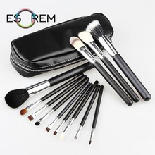 ESOREM 12pcs Goat Hair Makeup Brush Set With Bag Black Wood Handle Makeup Brushes Tapered Face Stippling Pinceau Maquillage M002 free shipping 2013 new arrival 12pcs natural goat hair purple makeup brushes sets with free pu leather cylinder dropship