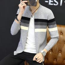 The new men's knitted cardigan 2017 zipper stripe color matching cultivate one's morality Youth sweater