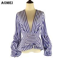 Puff Sleeve Blue White Stripe Blouse Shirts Ruffles Trim Women Sexy V Neck Sping Fashion New Tops Clothing Blusas Plus Size 4XL