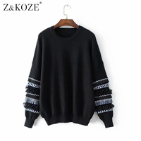 Z KOZE 2017 New Women Autumn Clothes Full Sleeve Pullover Tassel Striped Sweater Brief O Neck