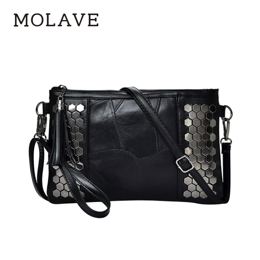 MOLAVE Handbag bag female	Solid shoulder bags for women Rivet 2018 new leather stitching handbag shoulder Messenger bag Jan4 vvmi 2016 new women handbag brand design rivet suede tassel bag chic classic vintage saddle bag single shoulder bag for female