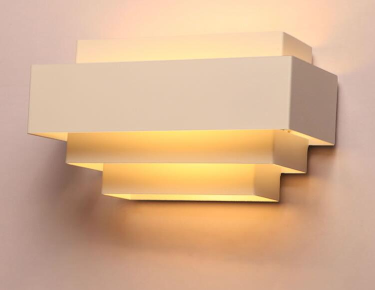 Modern White Square layers wall lamp Fixture Lighting white Iron wall lightsModern White Square layers wall lamp Fixture Lighting white Iron wall lights