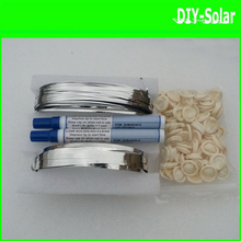 165feet solar cell-to-solar cell interconnect tabs soldering wire+33feet busbar wire+2pc flux pens+60pc finger DIY Solar Panel