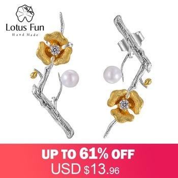 Lotus Fun Real 925 Sterling Silver Handmade Designer Fine Jewelry Delicated Plum Blossom Flower Dangle Earrings for Women