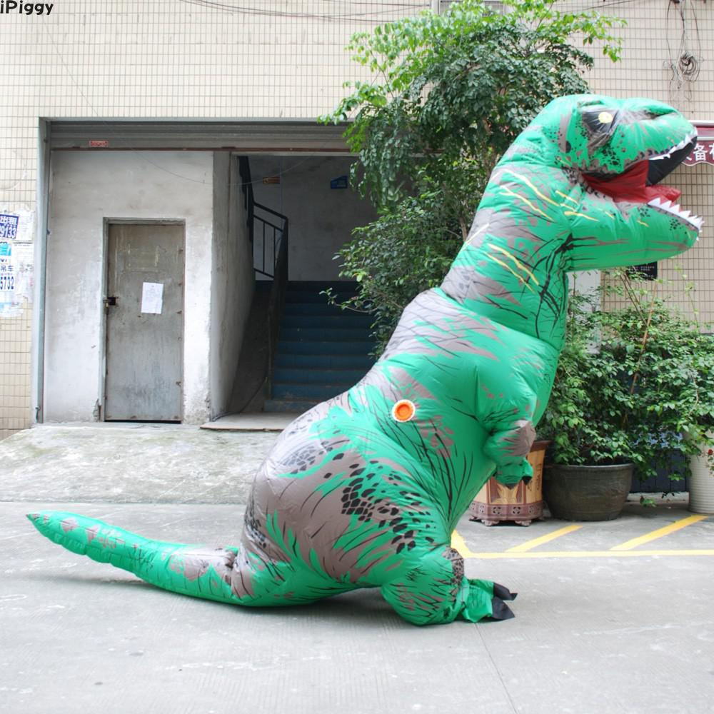 Ipiggy Adult T-rex Inflatable Costume Christmas Cosplay Halloween Costume Dinosaur Animal Jumpsuit For Women Men Fitness Game Toy Sports Outdoor Fun & Sports