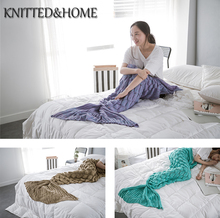 KNITTED&HOME New arrivel Knitted Mermaid Tail Blanket Adult/Child/Baby Mermaid Blanket Knit Cashmere-Like TV Sofa Blanket