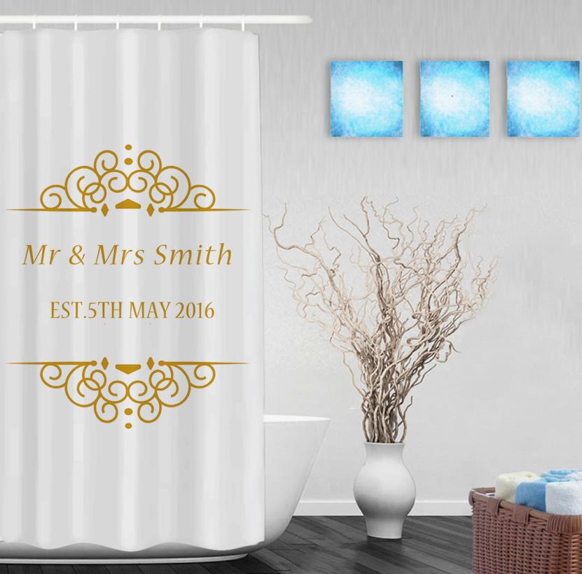 Custom Couples Name And Wedding Date Shower Curtain Personalized Bathroom Curtains Polyester Fabric With Hooks In From Home Garden