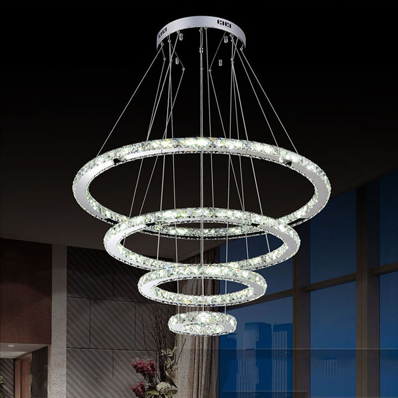 LED Chandelier Modern Stainless Steel Crystal Light led Kroonluchter Hanging Lamp 4 Rings DIY Design Diamond