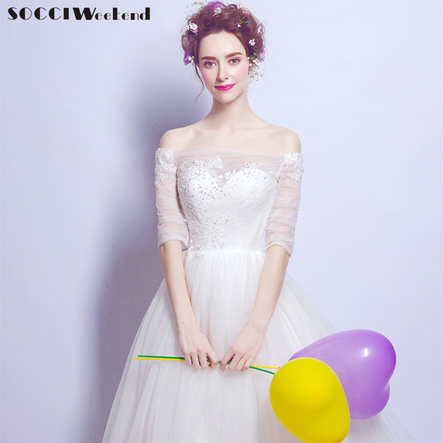 Socci weekend snow white wedding dress 2018 ivory women marriage socci weekend snow white wedding dress 2018 ivory women marriage dresses half sleeves off the shoulder junglespirit Image collections
