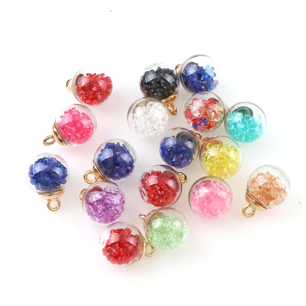 10piece New Korean Style Colorful Transparent Glass Ball Quicksand Sided Zircon For DIY Earrings Charms Jewelry Accessories