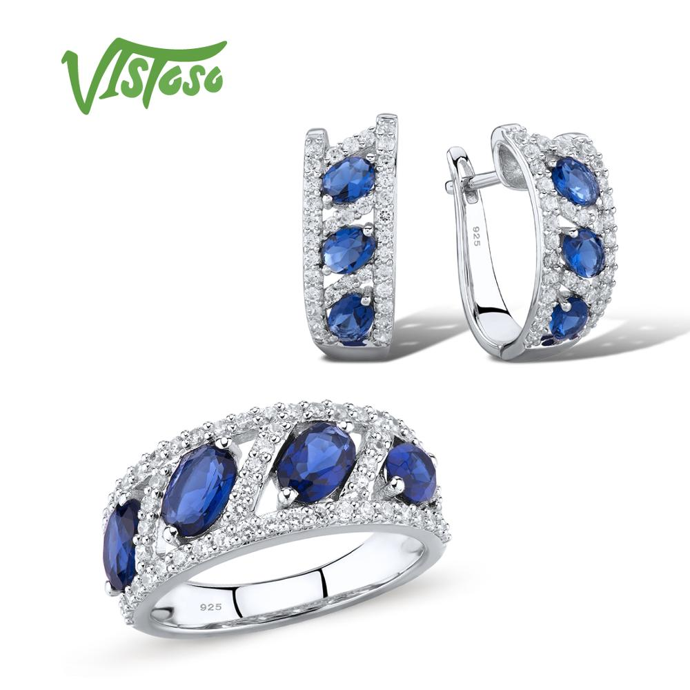 VISTOSO Jewelry Sets For Woman Blue White CZ Stones Jewelry Set Earrings Ring 925 Sterling Silver Fashion Fine JewelryVISTOSO Jewelry Sets For Woman Blue White CZ Stones Jewelry Set Earrings Ring 925 Sterling Silver Fashion Fine Jewelry