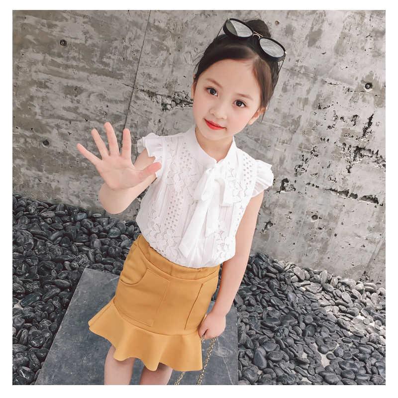 Mizah ayı kız bebek giyim takım elbise 2019 marka çiçekler kız takım elbise bebek kız giysileri Hollow out tasarım Toddler kız üstleri + pantolon 3-7Y