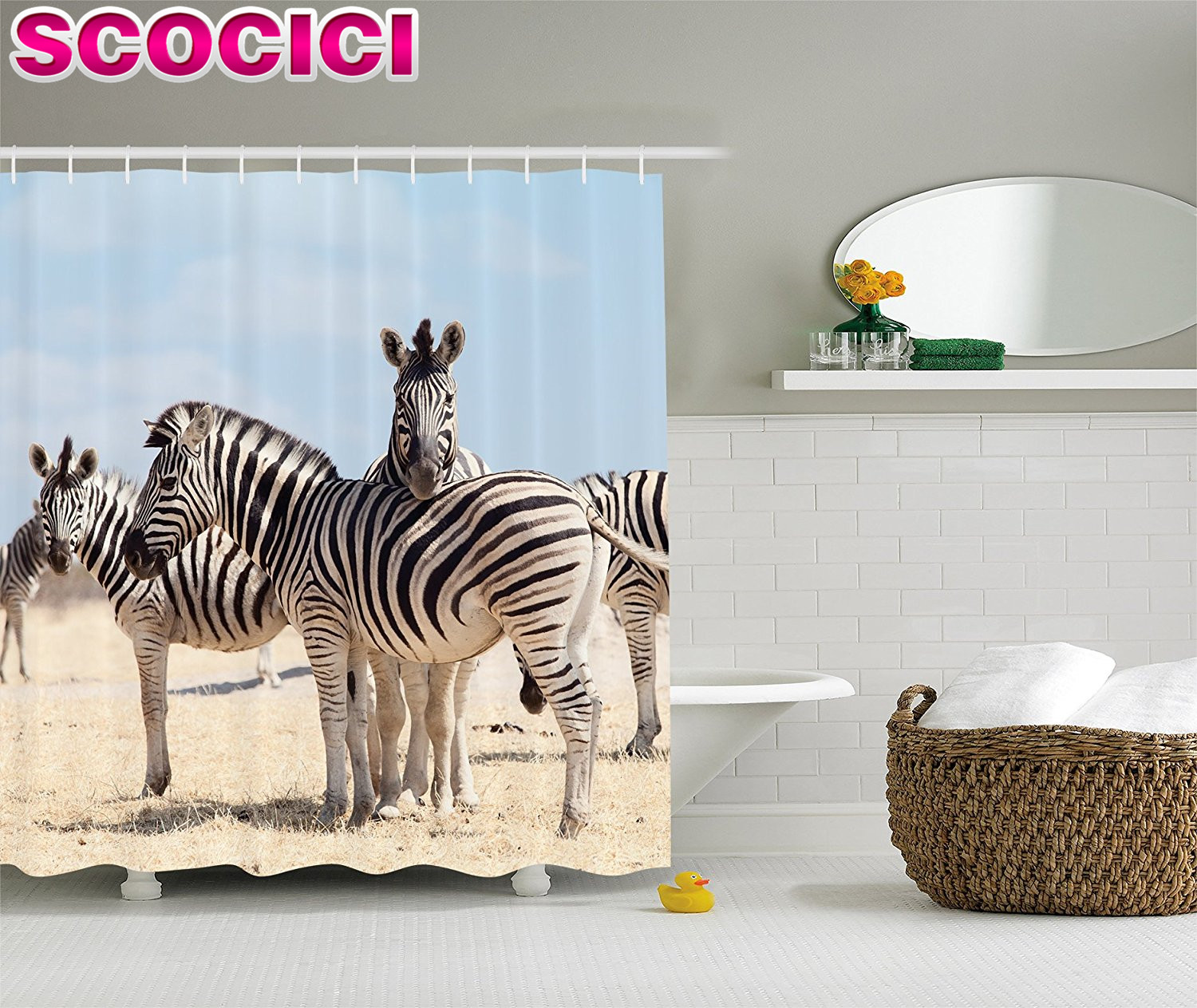 Wildlife Decor Shower Curtain Set Three Zebras In National Park Savannah Safari Bathroom Accessories