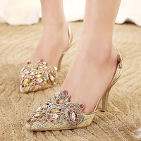 C2015 Gold Spring Summer Lace Pointed Toe Wedding Shoes Slingbacks Sandals Sexy Lady Single High Heels