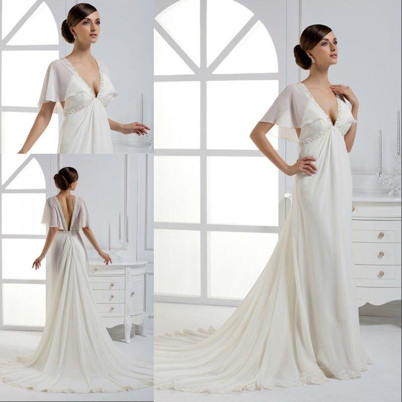 Wedding Gown For Pregnant Bride: Free Shipping Chiffon Beaded Sexy Deepv Neck Wedding