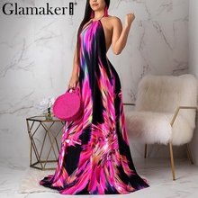 Glamaker Sexy plus size boho maxi dress Women floral print halter backless bodycon dress Elegant beach holiday dress large size