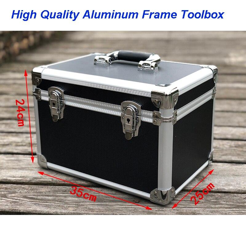 Exemple de boîte d'emballage antichoc Instrument et équipement boîte en aluminium de mallette à outils en aluminium de coin rond noir moyen