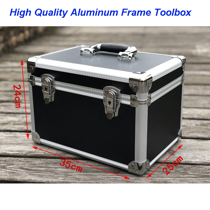 Sample Shock-proof Packaging Box Instrument And Equipment Aluminum Box Of Medium Black Round Corner Hand-held Aluminum Tool Case