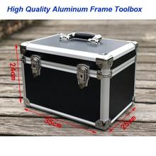 Sample Shock-proof Packaging Box Instrument and Equipment Aluminum of Medium Black Round Corner Hand-held tool case