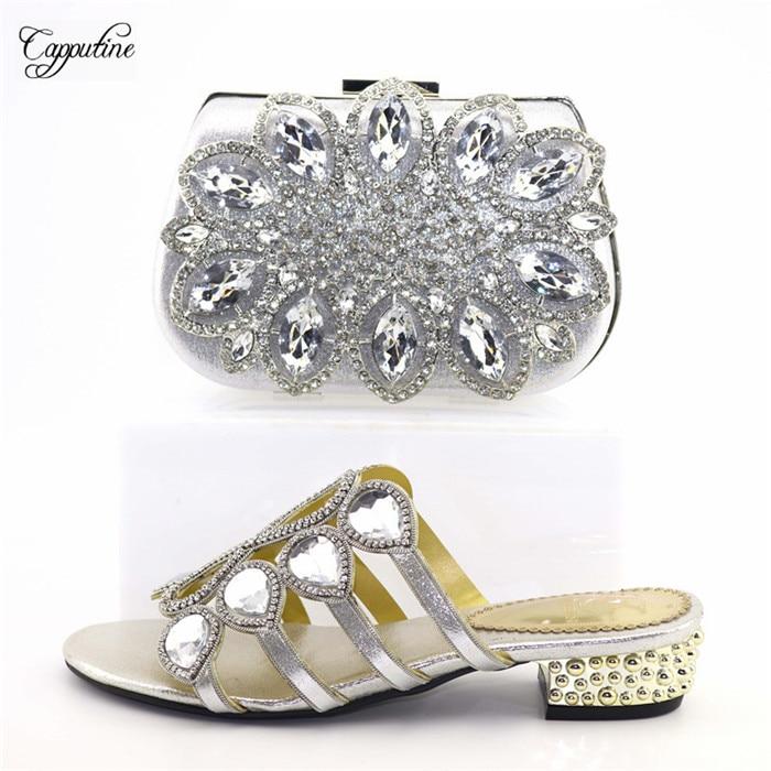 Elégant argent mariage/fête chaussures à talons moyens et ensemble de sacs avec strass T0741 hauteur de talon 3.8cm