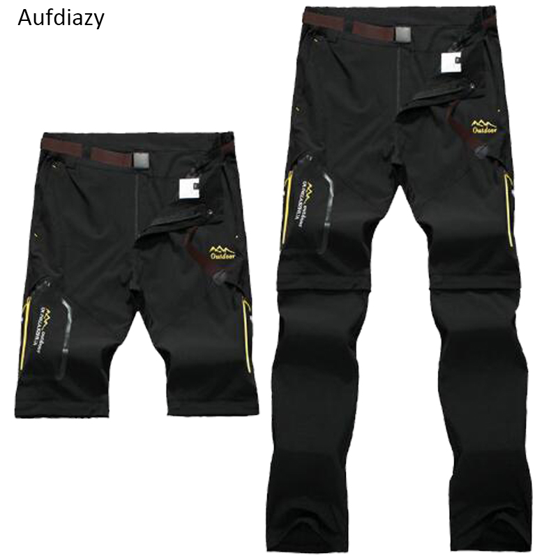 Aufdiazy <font><b>6XL</b></font> <font><b>Men's</b></font> Summer Removable Quick Dry Pants Outdoor Male Shorts Hiking Camping Trekking Fishing Sport Trousers JM004 image