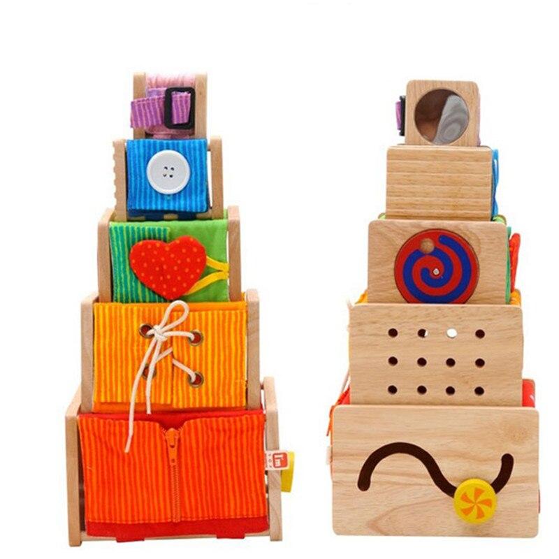 Монтессори игрушки обучения 5 активность штабелеры детей мелкую моторику Training Развивающие деревянные игрушки для детей Ролевые игры Мебел...
