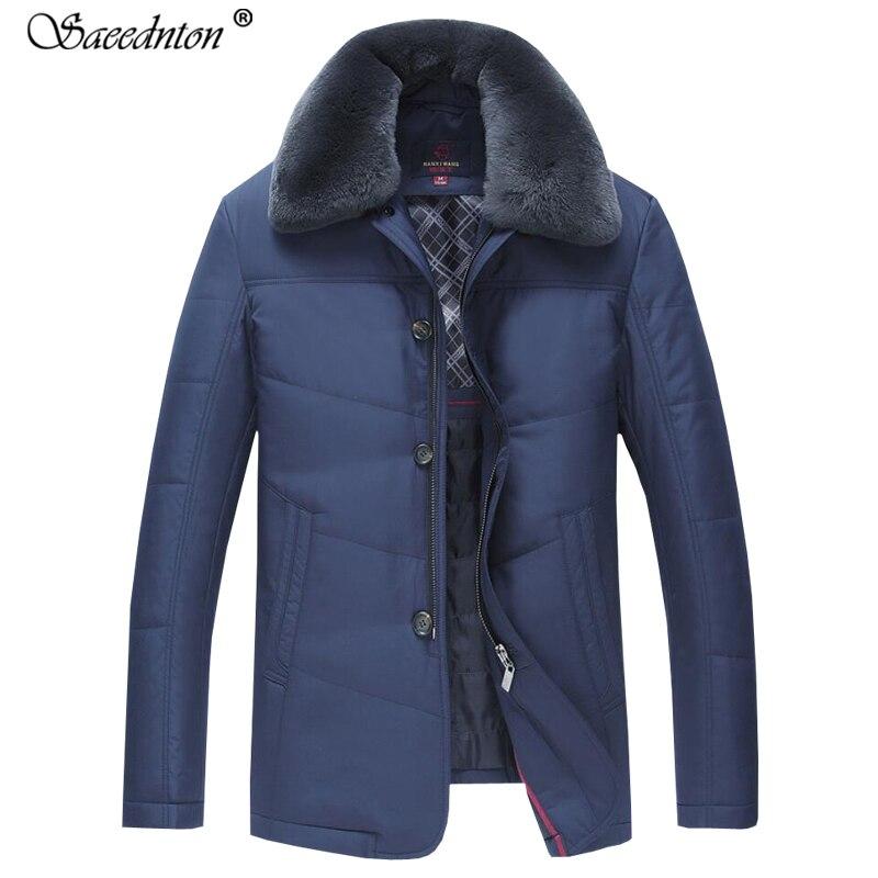 Winter Coat For Men 2019 New Cotton-padded Jackets Men' S Casual Thicken Pure Color Coats Overcoat Warm Rabbit Fur Collar Parkas