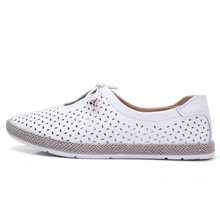 Women Flats Shoes Ballet Flat Sneakers Genuine Leather slip on Moccasins ladies Boat White Ballerina Espadrilles Creepers