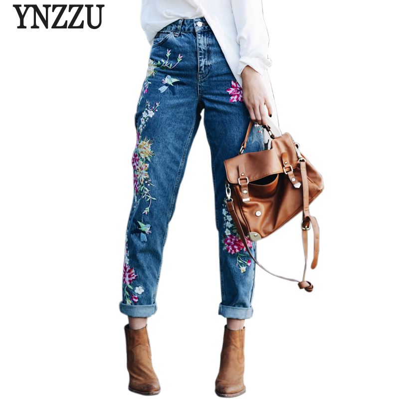 YNZZU Plus size flower embroidery jeans female high waist jeans pants 2017 spring summer women bottom jeans femme YB051 2017 vintage flower embroidery jeans female pockets straight jeans women bottom blue casual pants capris summer p3748
