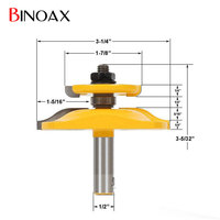 Binoax 1 2 Shank Chisel Raised Panel Router Bit With Backcutter Woodwork Cutter Tools