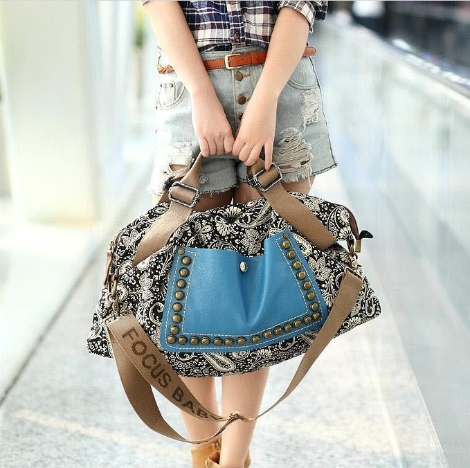 WInter Fashion Women Handbag National Vintage Shoulder Bags Canvas Patchwork Handbags Rivet Flowers Printing Messenger Bag