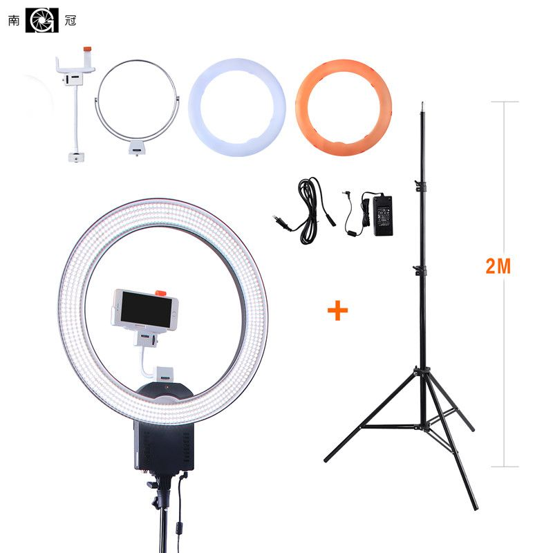 NanGuang CN-R640 19Photo/Video/Studio/phone 640 LED 5600K Camera Macro Ring Light Lamp for Makeup Photography With tripod Stand nanguang cn r640 cn r640 photography video studio 640 led continuous ring light 5600k day lighting led video light with tripod