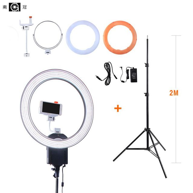 """NanGuang CN-R640 19""""Photo/Video/Studio/phone 640 LED 5600K Camera Macro Ring Light Lamp for Makeup Photography With tripod Stand"""