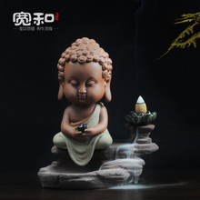 Ceramic incense burner back Guan Yin home decoration ideas, handmade purple Buddha