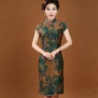 100% шелк Традиционный китайский Для женщин платье Чонсам летние шорты печати Qipao Винтаж платье с цветочным принтом M, L, XL, XXL, XXXL 4XL 7072