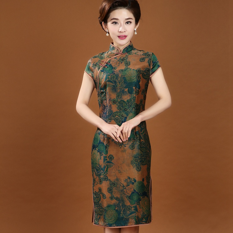 7564d4d5e 100% الحرير التقليدية الصينية المرأة شيونغسام اللباس الصيف قصيرة طباعة  تشيباو خمر زهرة اللباس ML XL XXL XXXL 4XL 7072