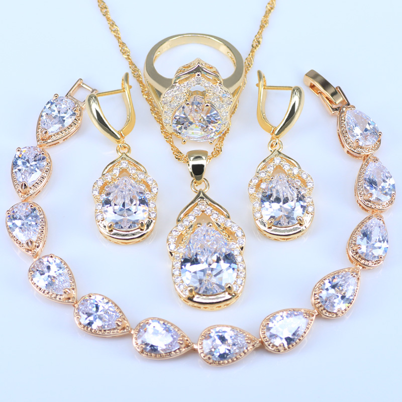 L&B Wedding/Bridal Water Drop Gold Color Womens/Girls Red Cubic Zirconia Chain Necklace/ ...