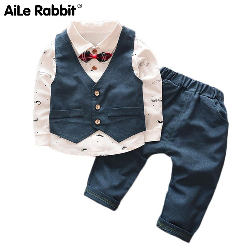 AiLe Rabbit 2018 Spring Autumn Baby Boy Clothes Children Cartoon Bear Clothing 3pcs Sets Boys Coat+T Shirt + Pants Cotton k1 new high quality boys clothing sets spring autumn sets coat suits plaid cotton baby boys coat t shirt pant 3pcs baby jackets set