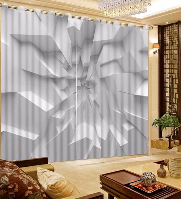 Customize Blackout Curtains White And Concave Walls For Living Room Stereoscopic Luxury