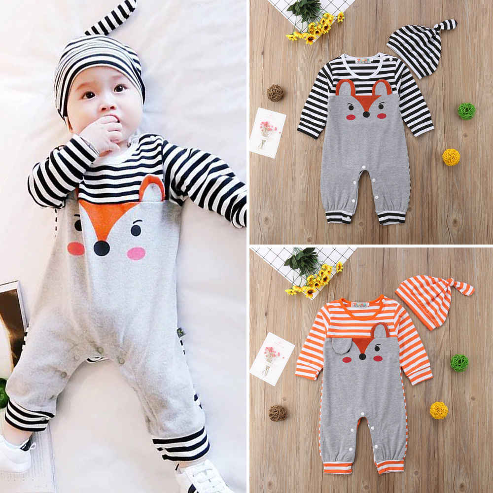 bcc076a3801 ... Newborn Infant Autumn Winter Rompers Baby Boys Girls Cute Lovely Fox  Pattern Jumpsuits+Hats 2pcs ...
